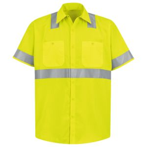 High Visibility Safety Short Sleeve Work Shirt Tall Sizes Thumbnail